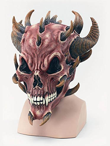 Tolle Horror und Halloween Maske aus Latex Red Devil Skull